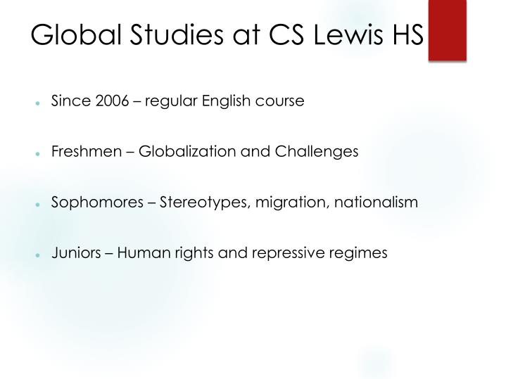 Global studies at cs lewis hs