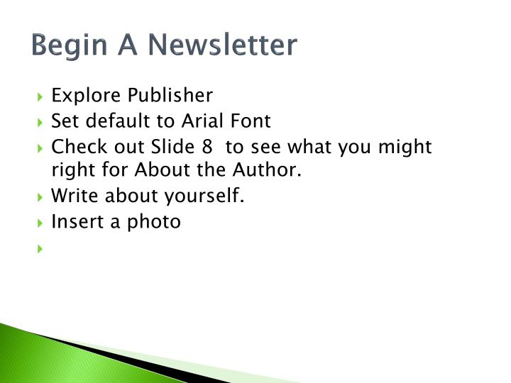 Begin A Newsletter