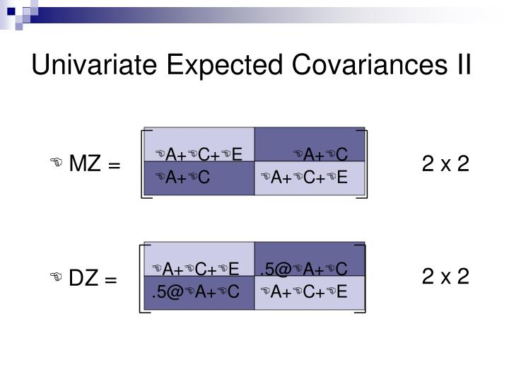 Univariate Expected Covariances II