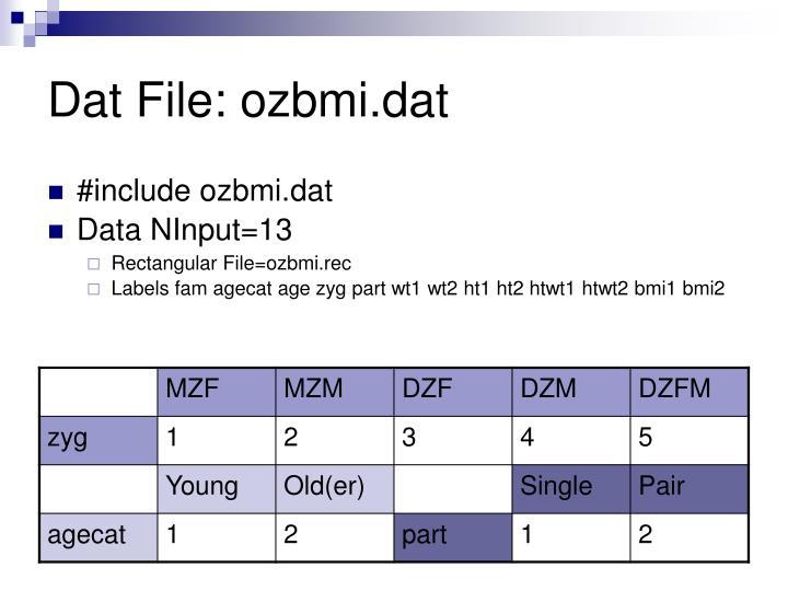 Dat File: ozbmi.dat