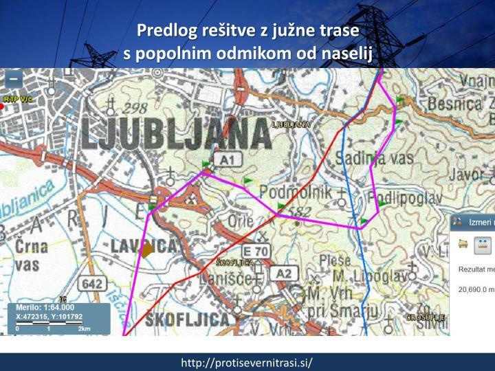 Predlog rešitve z južne trase