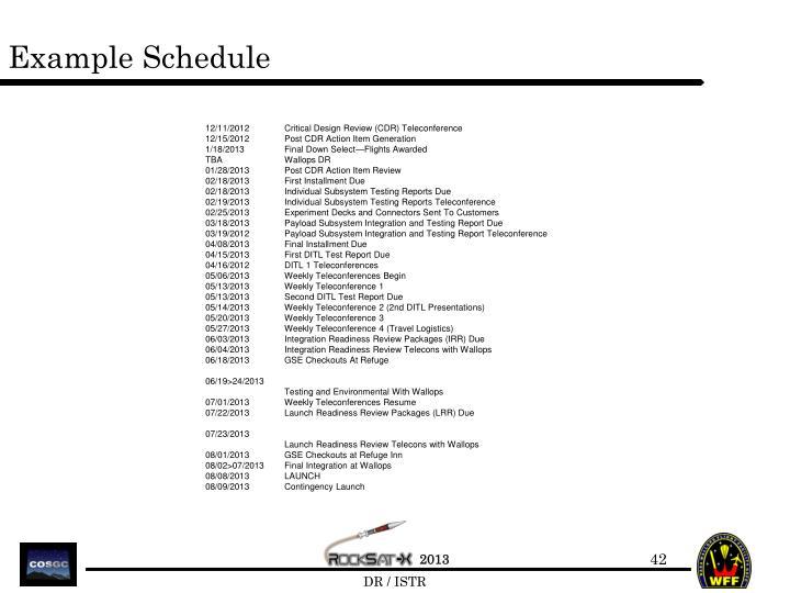 Example Schedule