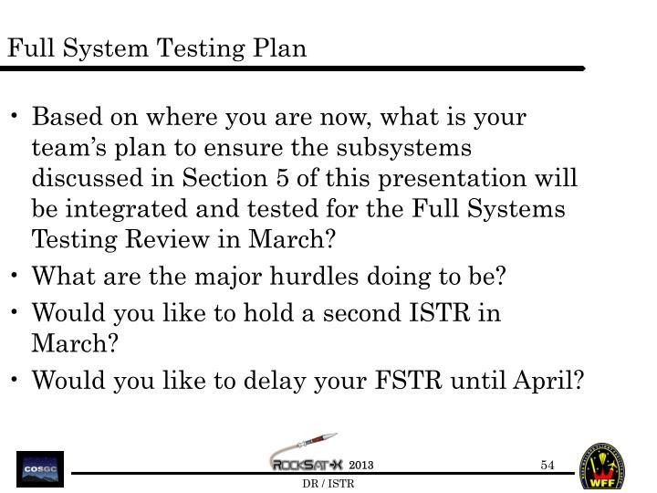 Full System Testing Plan