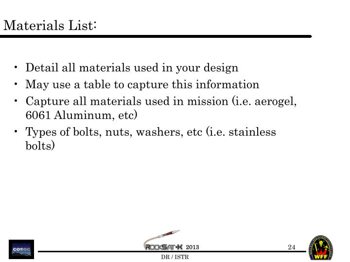 Materials List: