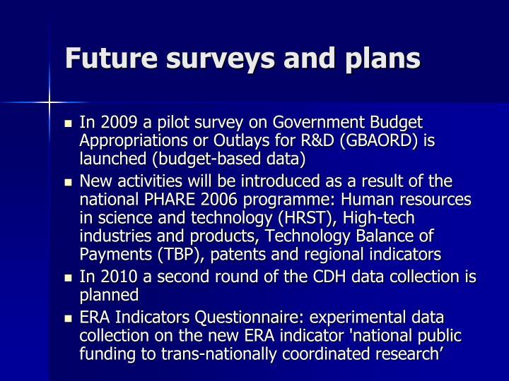 Future surveys and plans