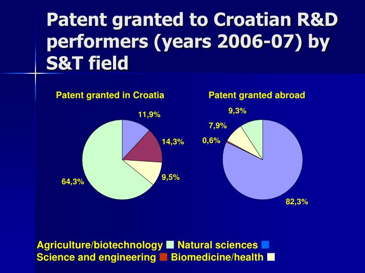 Patent granted to Croatian R&D performers (years 2006-07) by S&T field