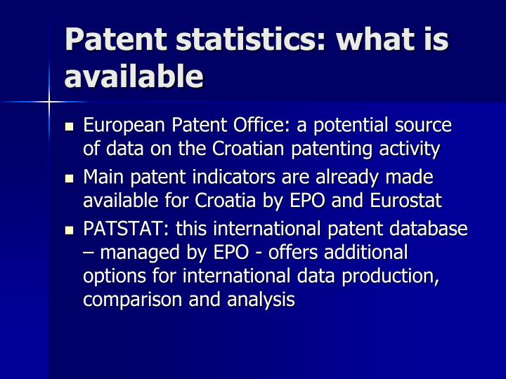 Patent statistics: what is available