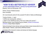 how to be a better policy advisor in public administration reforms training of young professionals