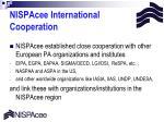 nispacee international cooperation