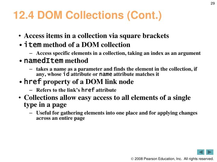 12.4 DOM Collections (Cont.)