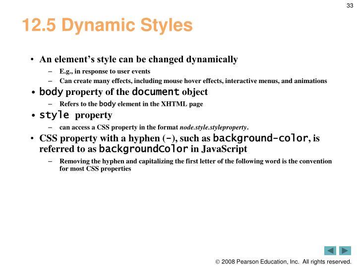 12.5 Dynamic Styles
