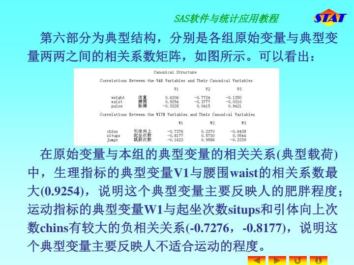第六部分为典型结构,分别是各组原始变量与典型变量两两之间的相关系数矩阵,如图所示。可以看出: