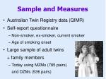 sample and measures