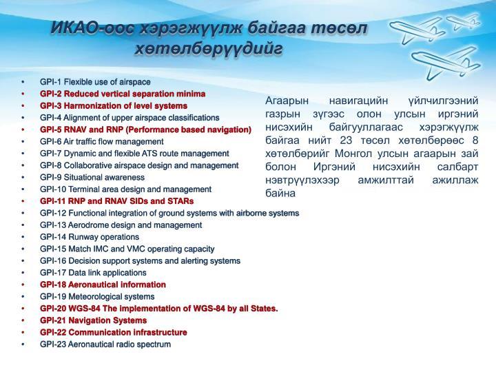 ИКАО-оос хэрэгжүүлж байгаа төсөл хөтөлбөрүүдийг