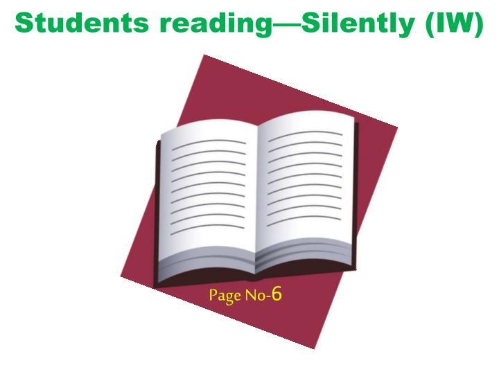 Students reading—Silently (IW)