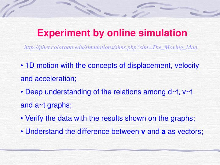 Experiment by online simulation