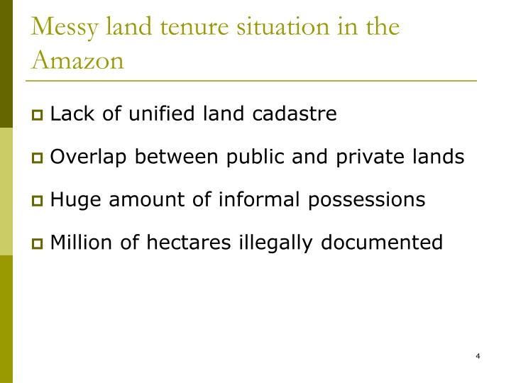 Messy land tenure situation in the Amazon