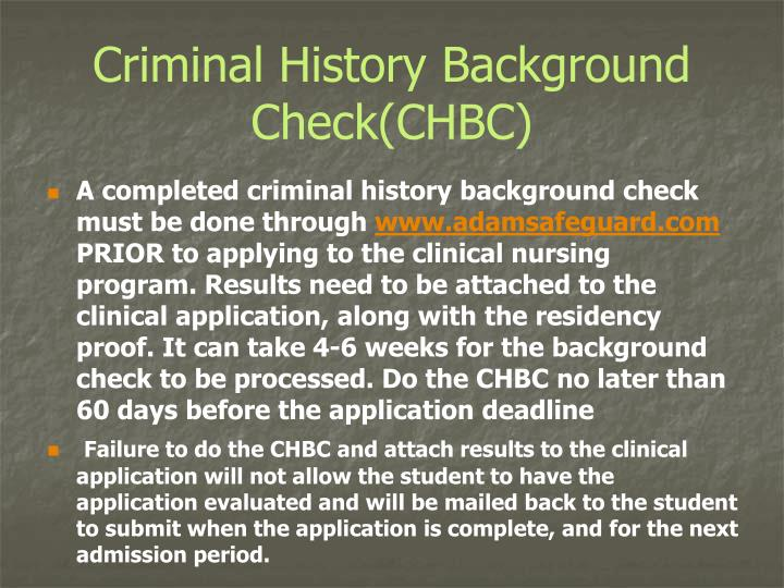 Criminal History Background Check(CHBC