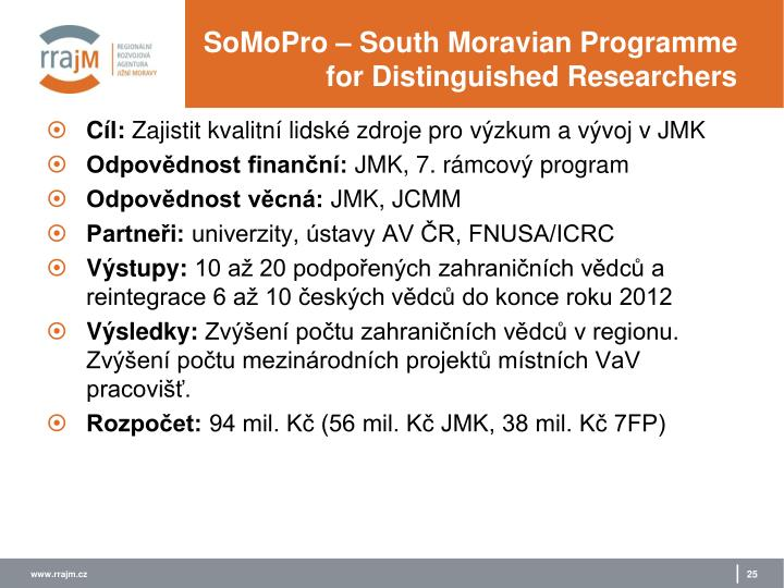 SoMoPro – South Moravian Programme for Distinguished Researchers