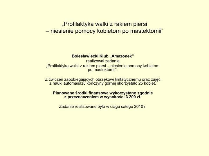 """Profilaktyka walki z rakiem piersi"