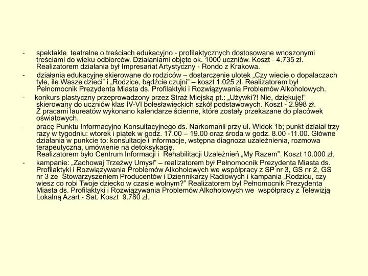 spektakle  teatralne o treściach edukacyjno - profilaktycznych dostosowane wnoszonymi treściami do wieku odbiorców. Działaniami objęto ok. 1000 uczniów. Koszt - 4.735 zł. Realizatorem działania był Impresariat Artystyczny - Rondo z Krakowa.