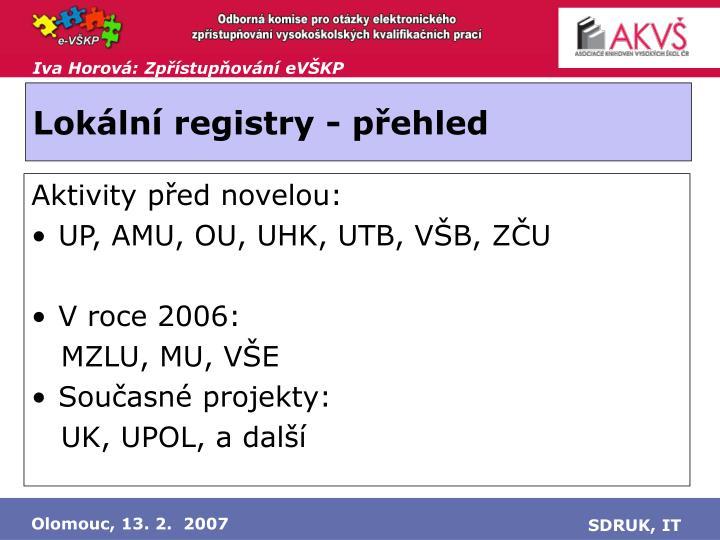 Lokální registry - přehled