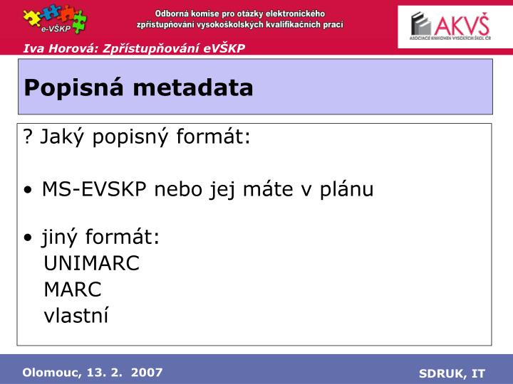 Popisná metadata