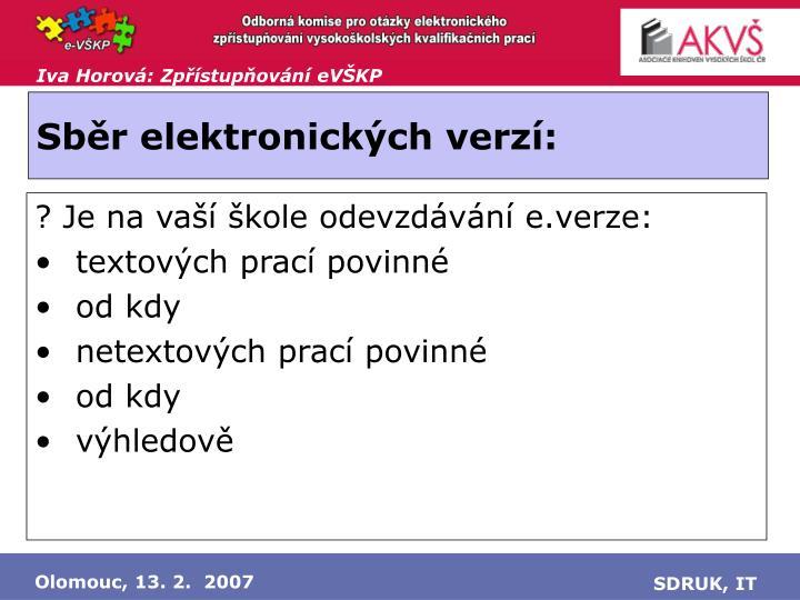 Sběr elektronických verzí: