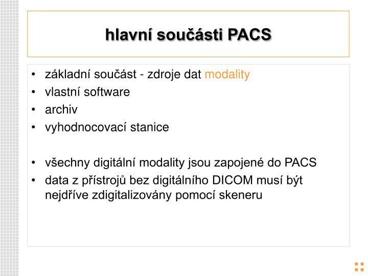 hlavní součásti PACS