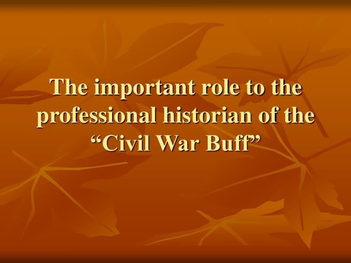 The important role to the professional historian of the civil war buff