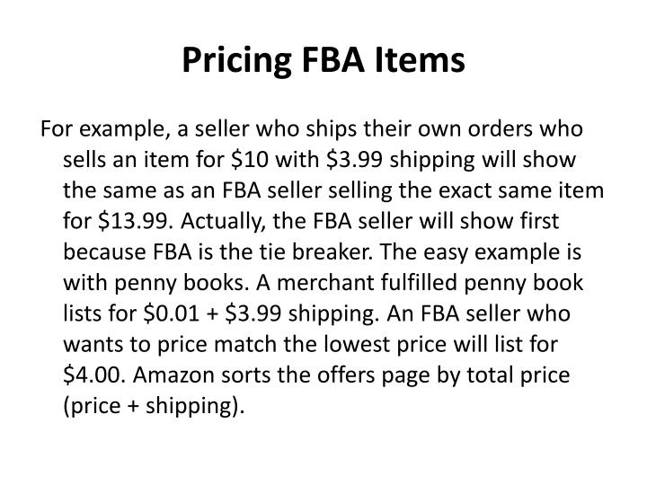 Pricing FBA Items