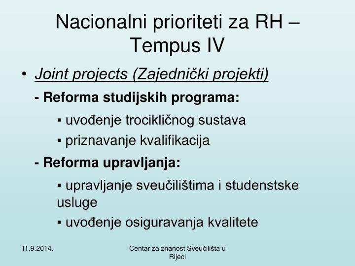 Nacionalni prioriteti za RH – Tempus IV