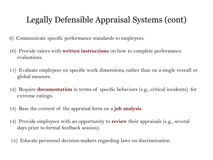 Legally Defensible Appraisal Systems (cont)