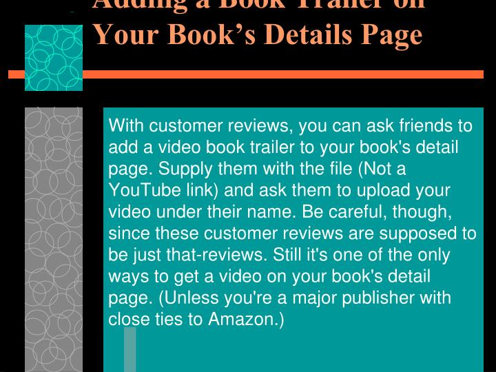 Adding a Book Trailer on Your Book's Details Page