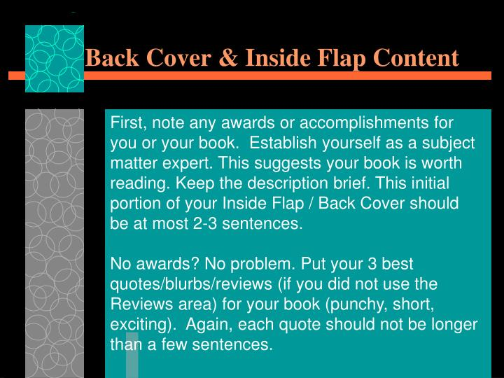 Back Cover & Inside Flap Content