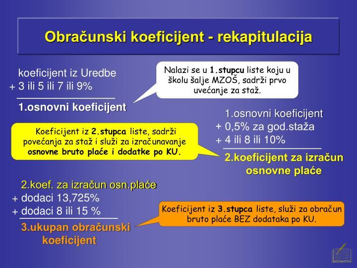 Obračunski koeficijent - rekapitulacija