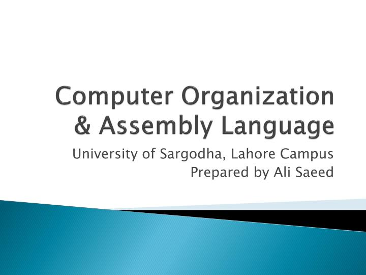 Computer organization assembly language