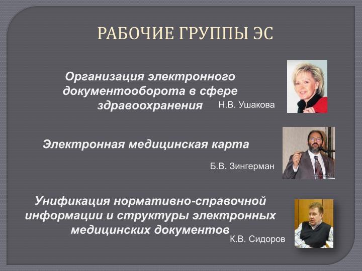РАБОЧИЕ ГРУППЫ ЭС