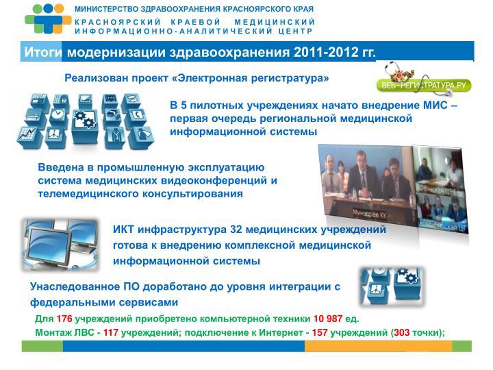Итоги модернизации здравоохранения 2011-2012 гг.