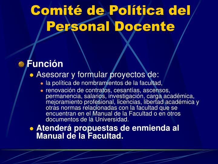 Comité de Política del Personal Docente