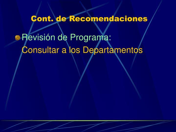 Cont. de Recomendaciones