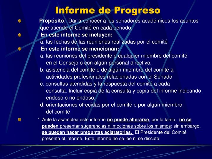 Informe de Progreso