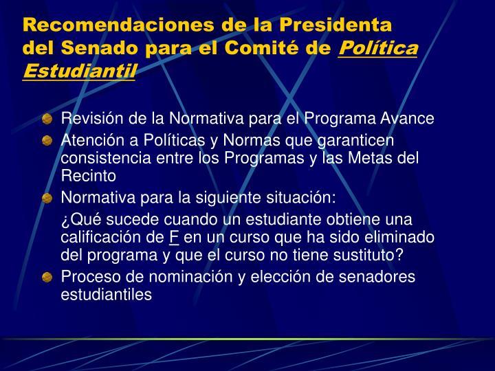 Recomendaciones de la Presidenta