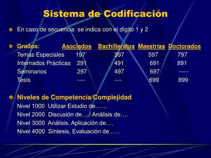 Sistema de Codificación