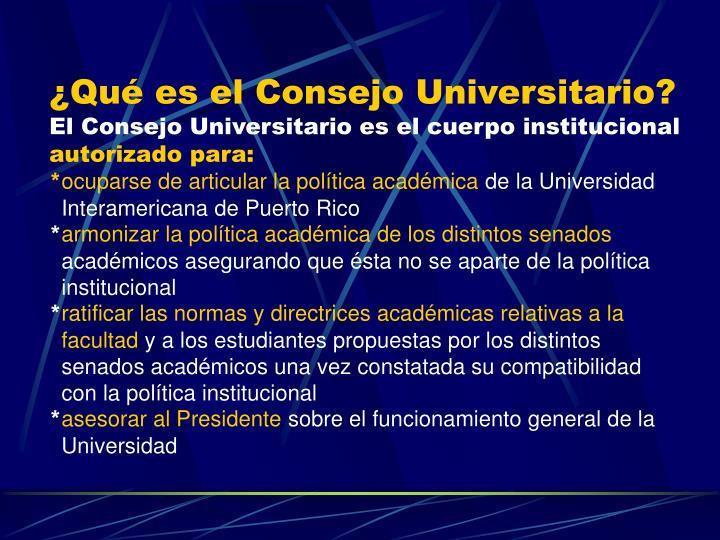 ¿Qué es el Consejo Universitario?