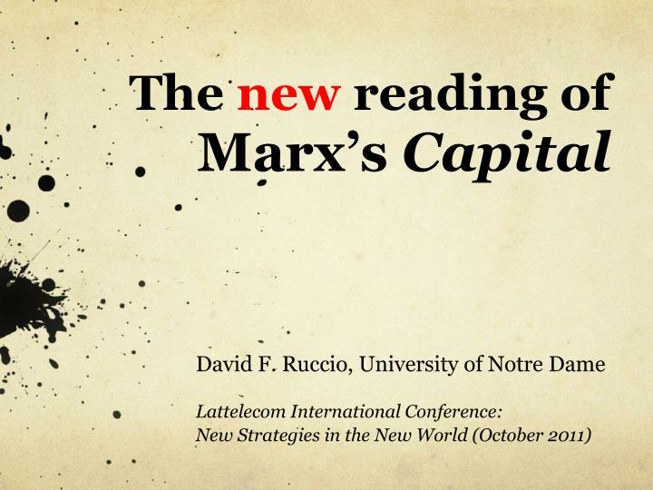 The new reading of marx s capital