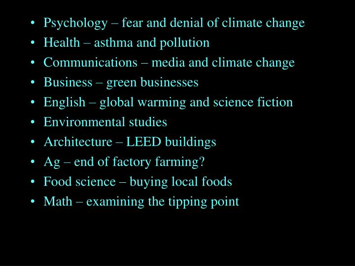 Psychology – fear and denial of climate change