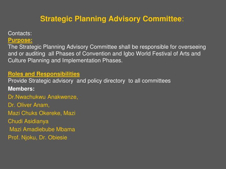 Strategic Planning Advisory Committee