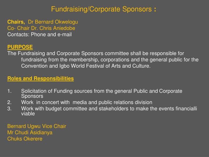 Fundraising/Corporate Sponsors