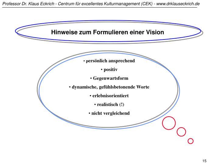 Hinweise zum Formulieren einer Vision